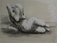 Henry Moore - Inglaterra 1898 1986 - Reclining woman on beach - litografia - 55 x 75 cms - 1981